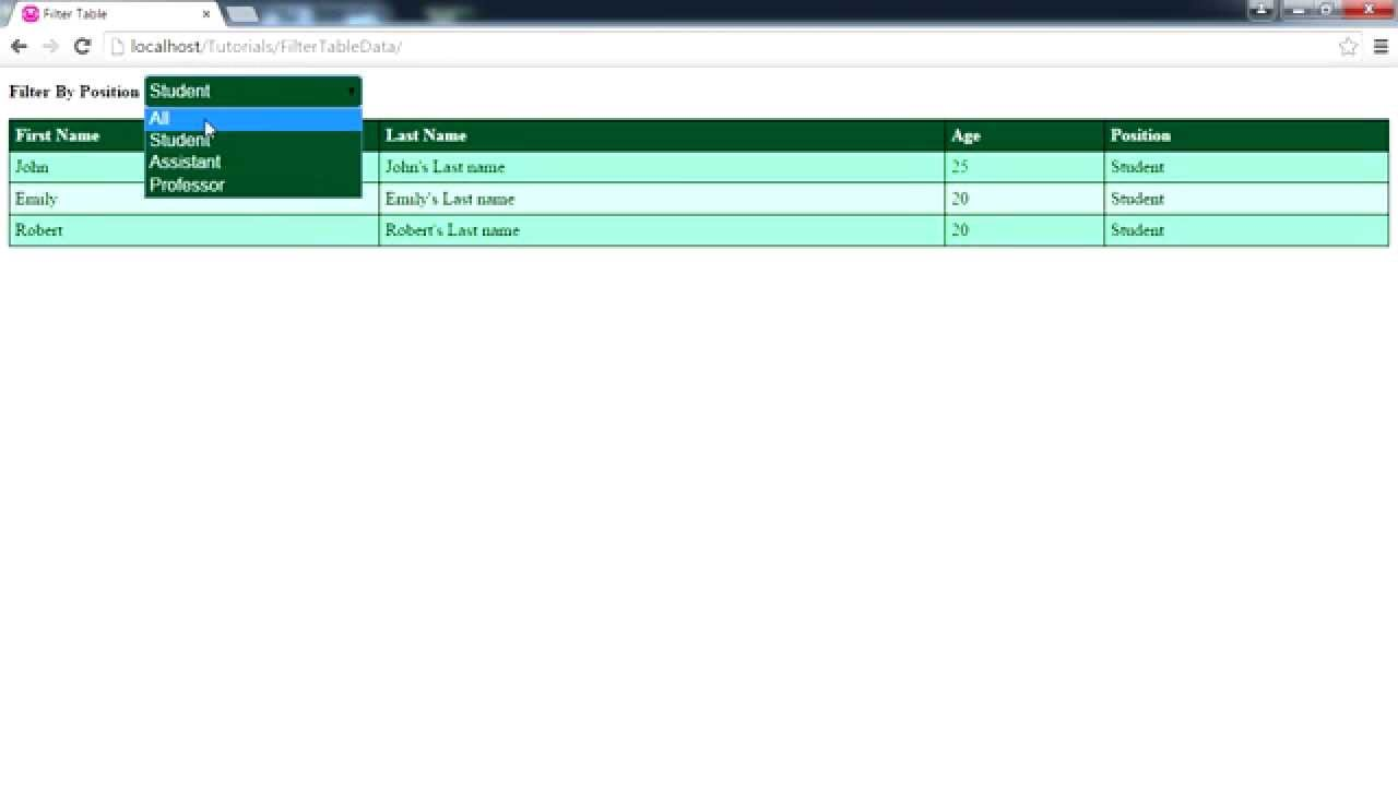 Filter HTML table with javascript/jquery