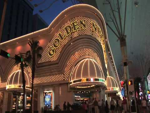 Golden Nugget Casino Hotel Las Vegas Downtown Neon Sign at Night on the Fremont Street Experience