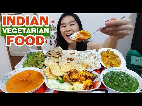 INDIAN FOOD! Palak Paneer, Tandoori Paneer Tikka, Samosa Chaat, Butter Naan | Eating Show Mukbang