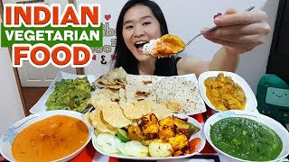 INDIAN FOOD! Palak Paneer, Tandoori Paneer Tikka, Samosa Chaat, Butter Naan | Eating Show Mukbang
