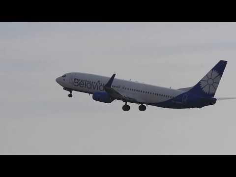 """Посадка и взлет Boeing 737-800 """"Belavia"""" 07.03.2019"""