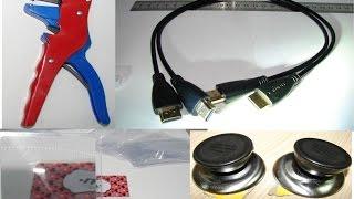Распаковка и обзор 4х посылок (зачистка проводов, HDMI кабели, увеличительные линзы (френеля), ....)
