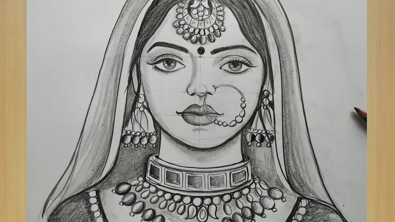 how to draw a beautiful traditional bride with pecil sketch,bride drawing easy,how to draw a girl,