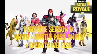 FORTNITE *NEW* SEASON 9 INTRO + ALL SKINS BACK BLINGS EMOTES GLIDERS CONTRAILS BANNERS MUSIC WRAPS