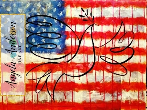 American Flag Acrylic Painting Tutorial | Free How To Paint 4th Of July Patriotic Art