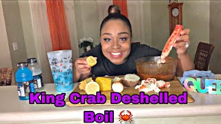 King Crab 🦀 Deshelled Boil 🥚🥔🌽 + JUICY TOPIC😱