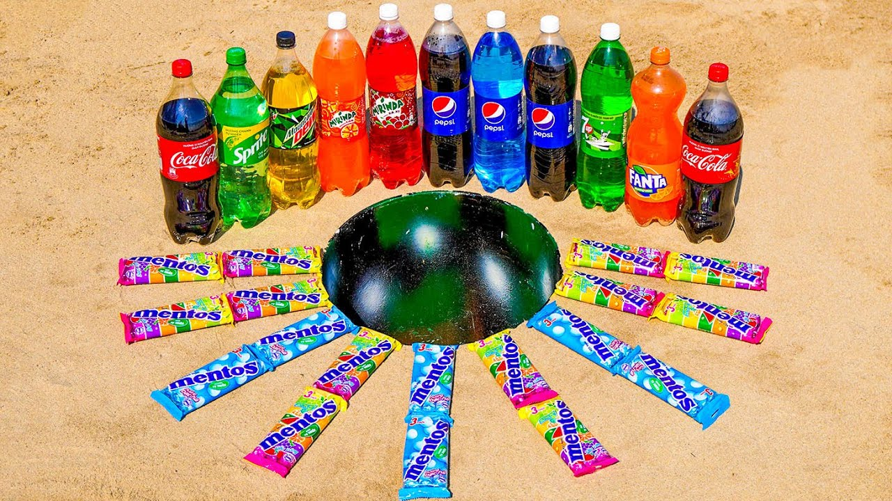 Different Pepsi Bottles, Cola-Cola, Mirinda, Fanta, Mtn Dew, 7up, Sprite and Mentos in the bucket