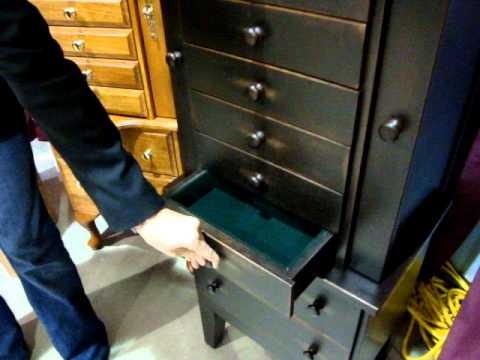 Amish Handcrafted Jewelry Armoire in Solid Cherry Wood