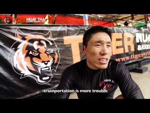 China's MMA Fighter Yao Hong Gang at Tiger Muay Thai