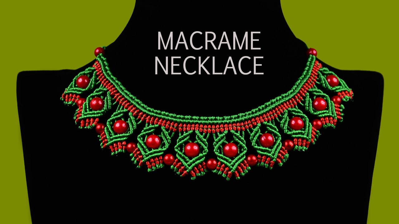 DIY Macrame Necklace with Diamonds and Beads - YouTube