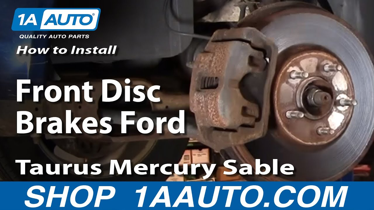 how to install replace front disc brakes ford taurus mercury sable 01 07 1aauto com youtube [ 1920 x 1080 Pixel ]