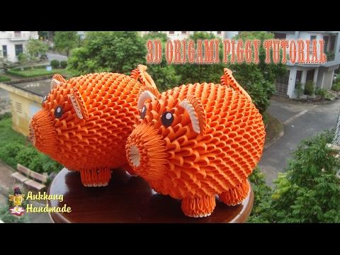 HOW TO MAKE 3D ORIGAMI PIGGY | DIY PAPER PIGGY TUTORIALS