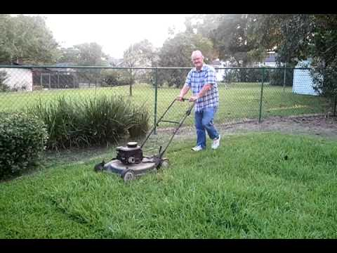 David Mowing the back yard