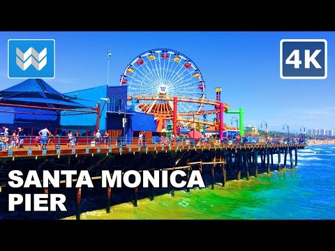 Walking tour of Santa Monica Pier in Los Angeles, California 【4K】(Chris Brown Undecided Location)