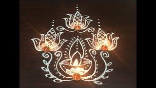 dewali special lotus rangoli  design with 7x1 straight dots || beautiful lotus deepam koalm
