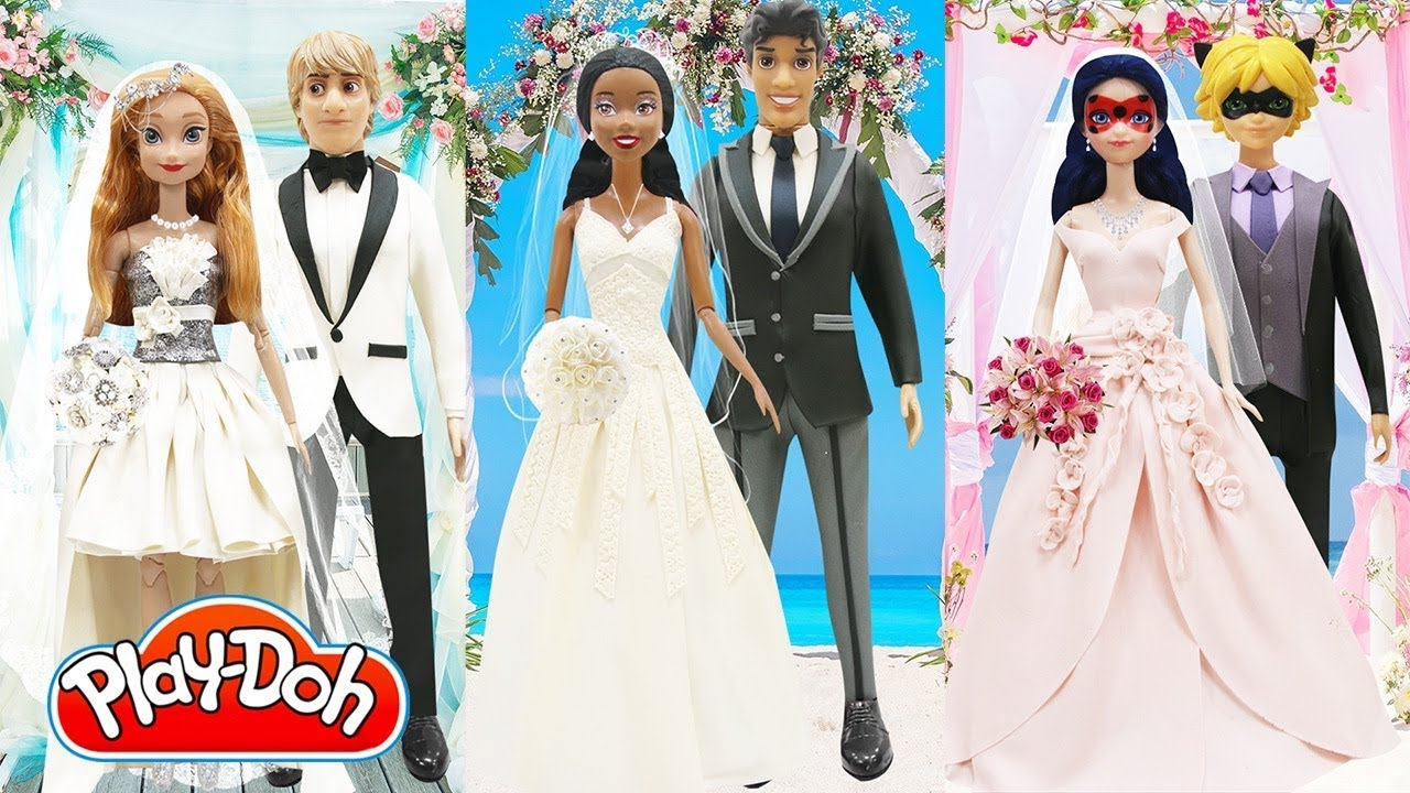Play Doh Wedding Dress Ladybug Cat Noir Disney Princess Tiana Naveen ...