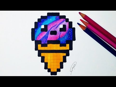 Kawaii Ice Cream Pixel Art - Galaxy Drawing