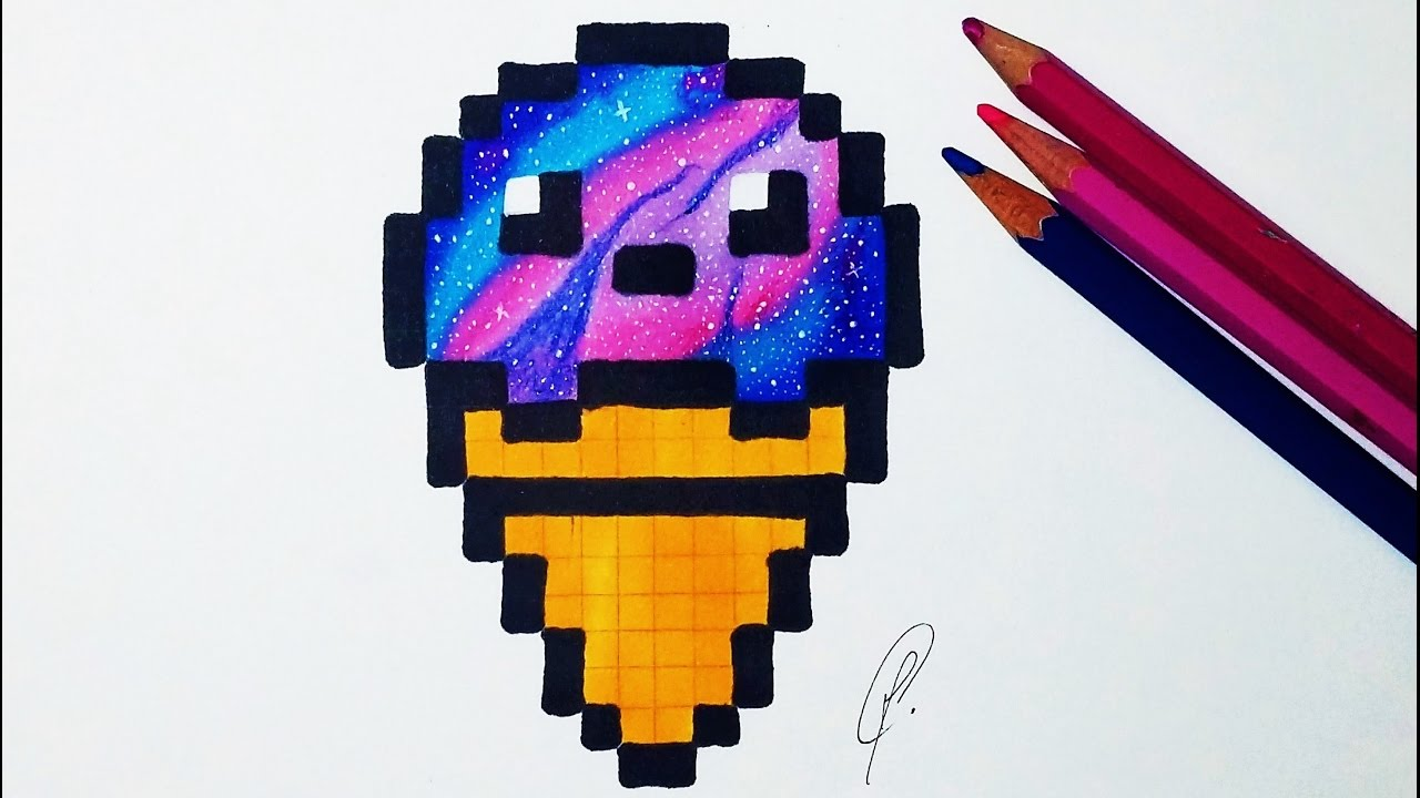 Kawaii Ice Cream Pixel Art Galaxy Drawing