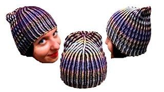Женская шапка в технике Бриошь спицами. Часть 1 // Brioche Stitch // Women's hats knitting
