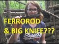 SURVIVAL LILLY Demonstrate HOW TO use a Ferrorod with a Big Knife