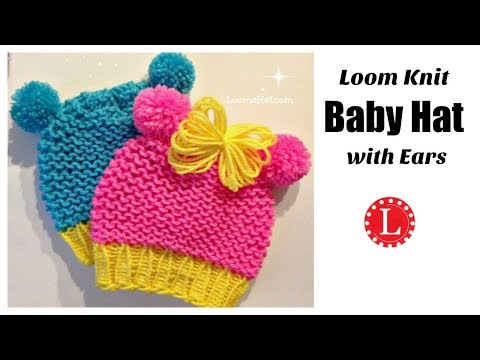 Loom Knit Baby Hat with Ears ( Round Loom ) Animal Ears | LoomaHat
