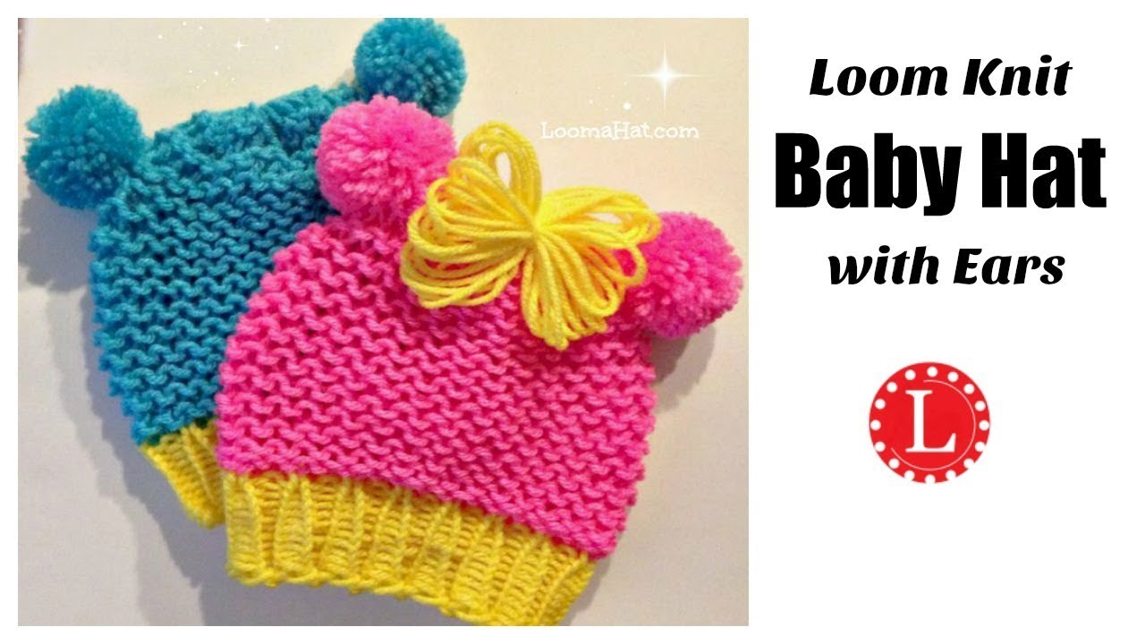 4334e8e36a3 Loom Knit Baby Hat with Ears ( Round Loom ) Animal Ears