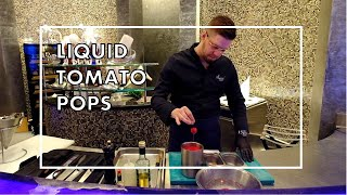 Amazing LIQUID GAZPACHO TOMATO POPS at Ossiano in Dubai, by Chef Grégoire Berger (Atlantis Hotel)