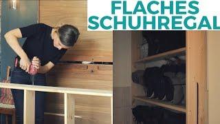 Quick & Dirty: Einfaches flaches Schuhregal aus Holz | DIY