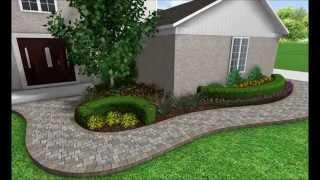 Gambar cover Landscape Design 3D Image Slideshow- Front Walkway Transformation - Brick Paver Pathway