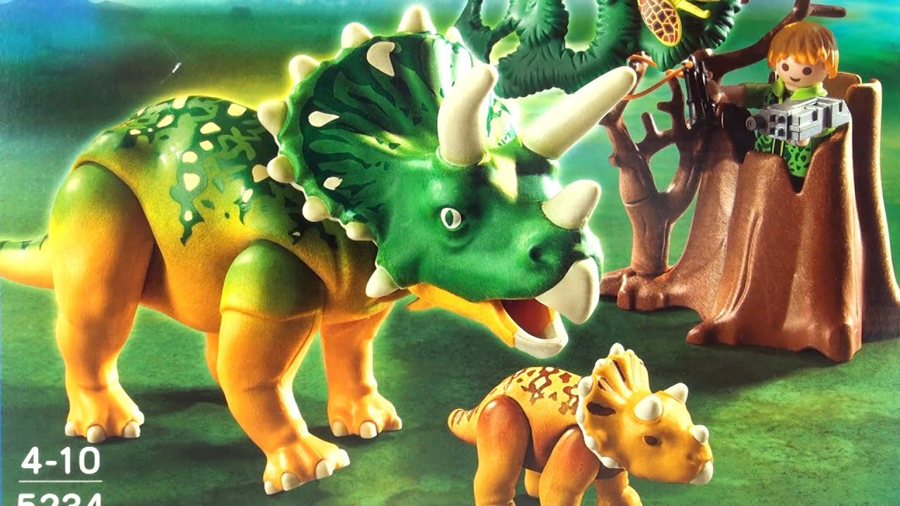 Playmobil dinos triceratops with baby and explorer 5234 - Dinosaur playmobile ...