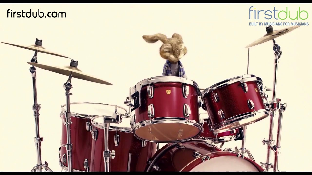 Firstdub Funky Rabbit Playing Drums