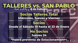 Copa Libertadores: se ponen en venta las entradas para Talleres - San Pablo