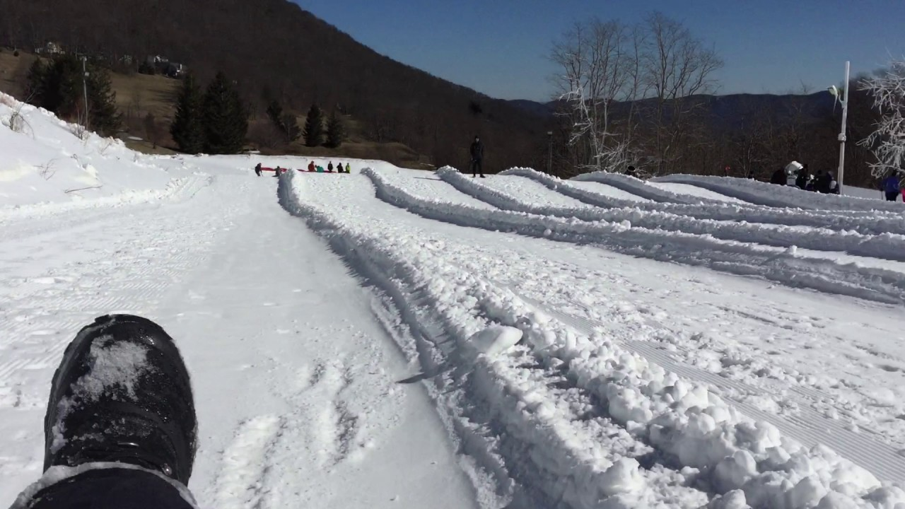 hawksnest snow tubing hill in north carolina's high country - youtube