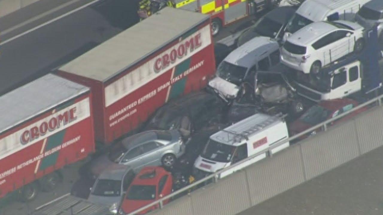 100 car pile-up on Sheppey crossing bridge in Kent, UK