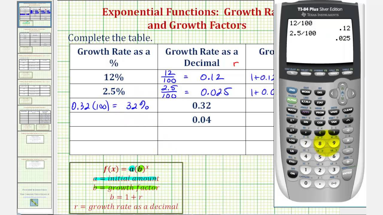 Ex Exponential Functions Growth Rate And Growth Factor Youtube