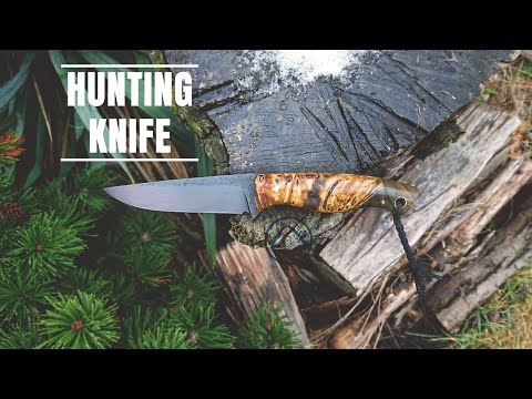 Knife making - HUNTING KNIFE w/ BLACK BLADE and STABILIZED WOOD HANDLE - #KNIFEMAKING