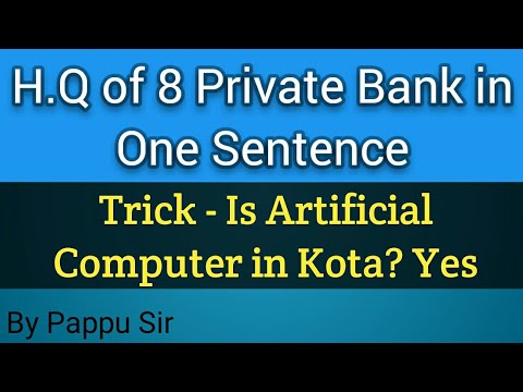 SBI Clerk 2018 || 8 Private Banks Headquarter in One sentence And 25 G.A Q/A