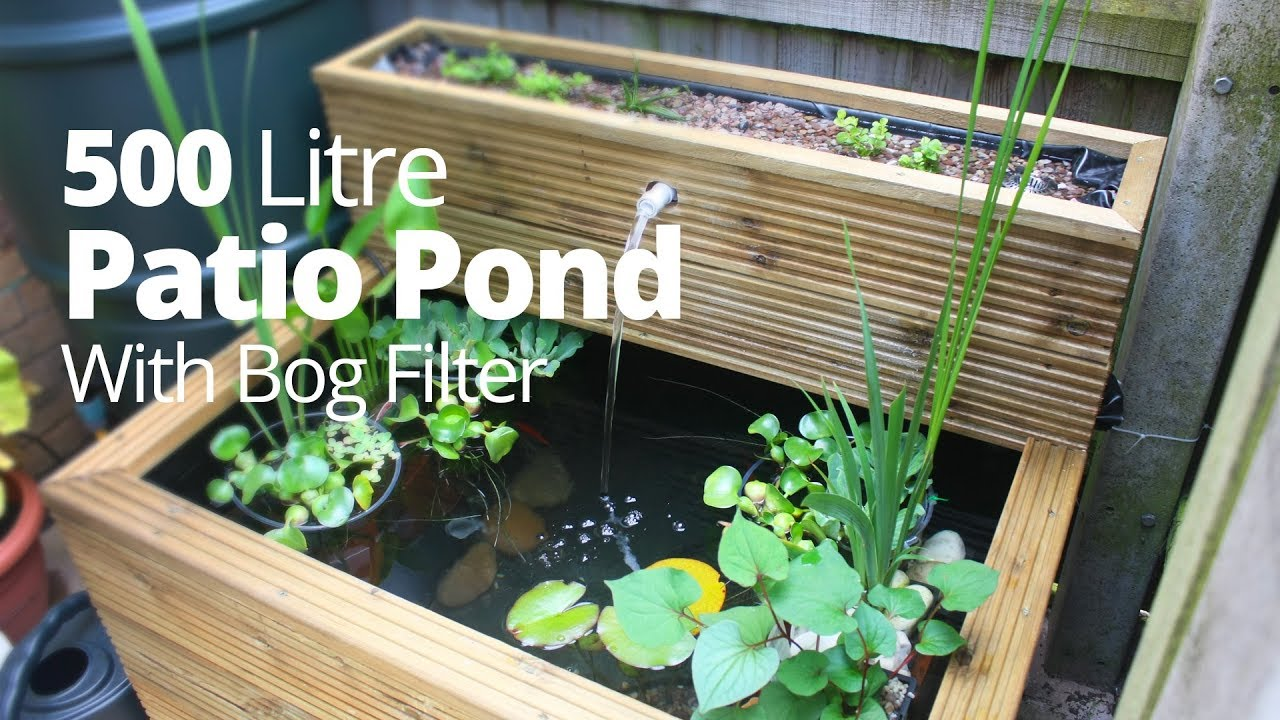 Patio Pond Hand Made 500 Litres With Bog Filter And