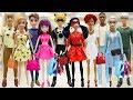 Play Doh Shopping Outfits Barbie Ken  Ladybug  Cat Noir Mal  Ben Anna Kristoff Elsa Jack Frost