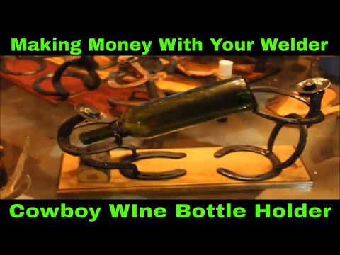 Western Cowboy Wine Bottle Holder - Welding Art