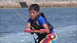 10歳のSotaroが、初めてのウェイクボードに挑戦しました!