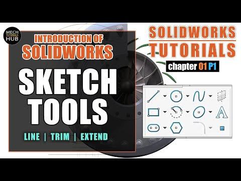 Introduction to Solidworks   SKETCH TOOLS (Line, Trim, Extend)   SOLIDWORKS TUTORIALS   Ch01 P01 thumbnail