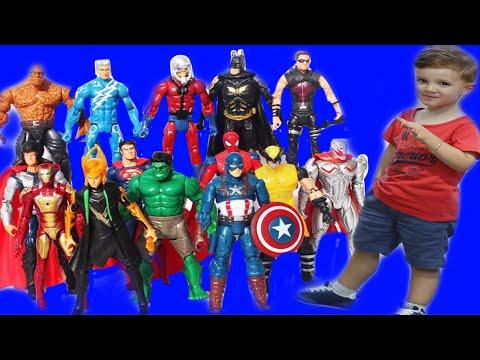 Süper Kahramanlar. Süper kahramanlar oyuncakları açtık, oyun oynadık. Oyuncak videoları.