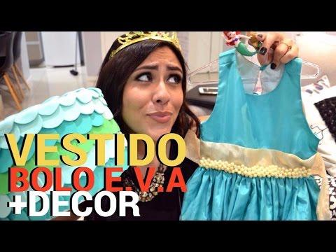 FESTA PEQUENA SEREIA - EP - 02 - VESTIDO BORDADO, BOLO DE EVA ARIEL + DECORAÇÃO
