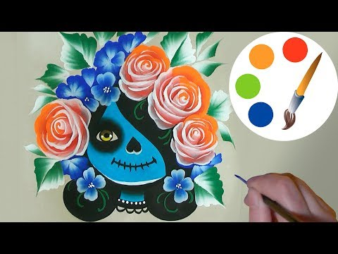 🍁🎃 Painting Catrina 🎃🍁 , Day of the Dead, Halloween, One Stroke, irishkalia