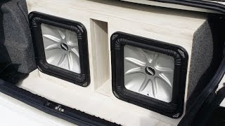 kicker subwoofer box custom wrap no carpet here how to install laminate flooring on a speaker box