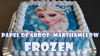 PAPEL DE ARROZ + MARSHMALLOW - BOLO FROZEN