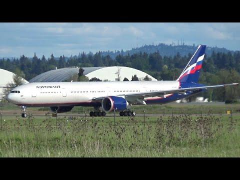 Aeroflot VQ-BFO Boeing 777-300ER Takeoff Portland Airport (PDX)