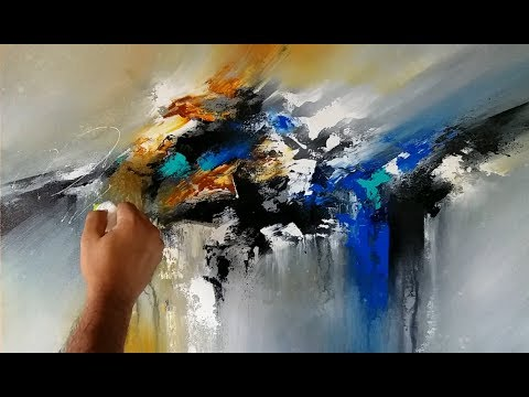 Abstract painting / Blending in Acrylics / Palette knife and brush / Demonstration