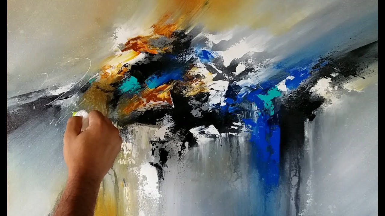 Abstract Painting Blending In Acrylics Palette Knife